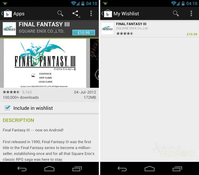 Lista de deseos Google Play