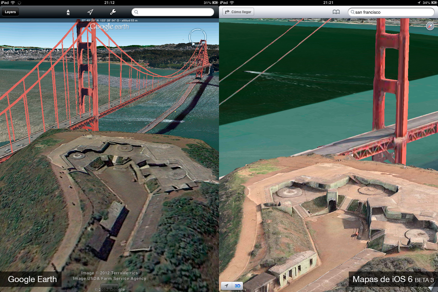 Foto de Google Earth 7.0 contra Mapas de iOS 6 (beta 3) (9/9)