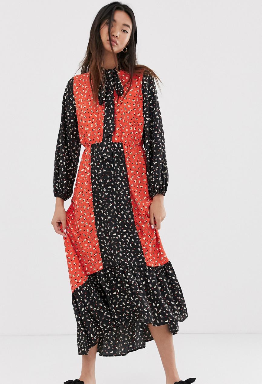 Vestido largo con estampado floral combinado de Only