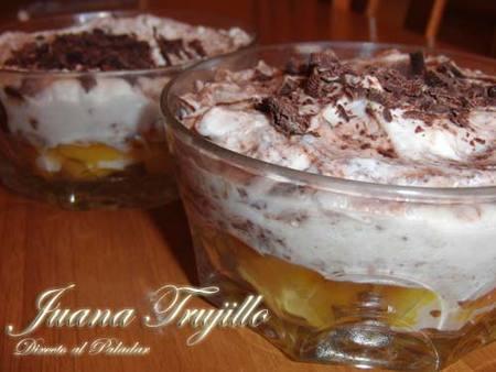 Crema de chocolate, melocotón y mascarpone. Receta
