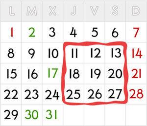 Suma de números en un calendario