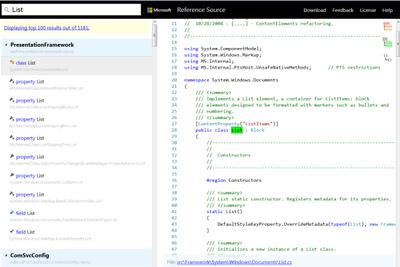 Mejorado el acceso a código fuente de .NET Framework