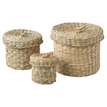 Ljusnan Box With Lid Set Of 3 Seagrass 0711883 Pe728533 S5