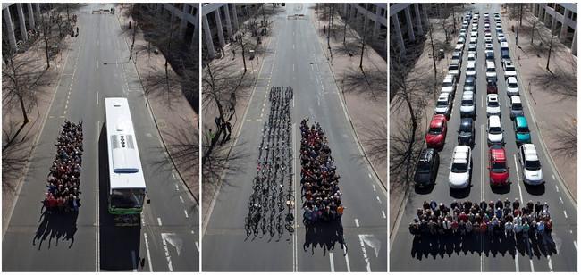 Comparativa entre autobús, bicicletas y coches privados