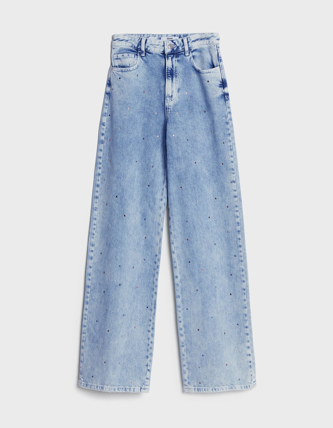 Jeans straight strass.