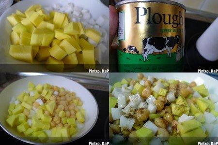 Garbanzos, mango y coco. Pasos