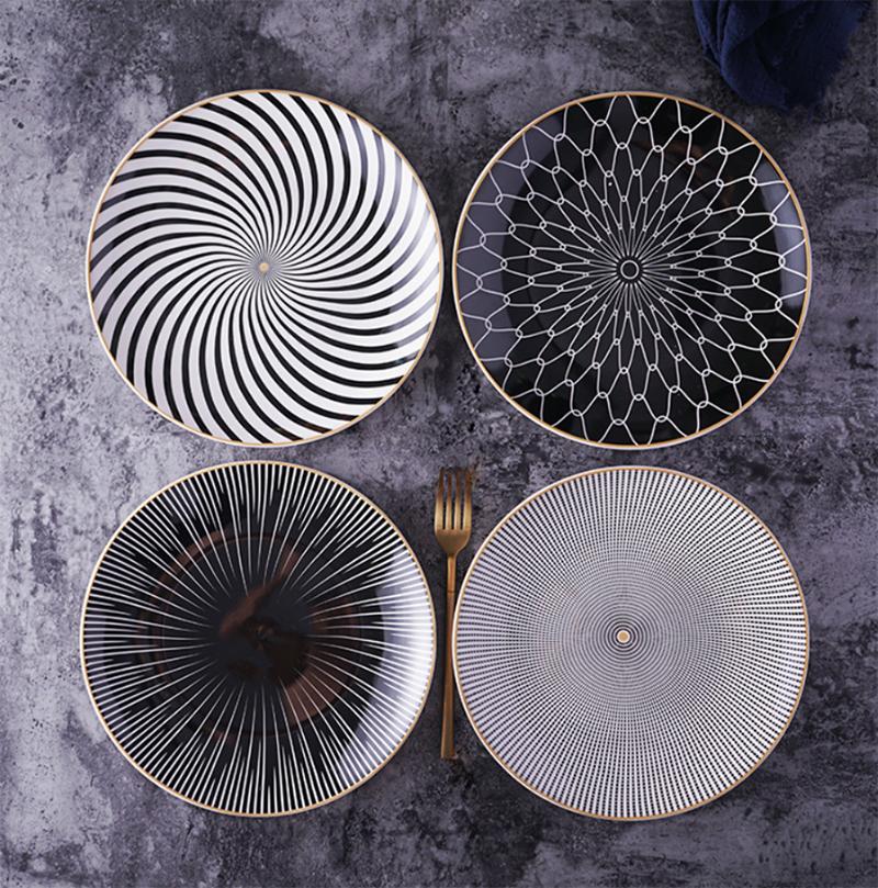 Nuevo plato nórdico de plato principal de 8 o 10 pulgadas plato de mesa de geometría vajilla de porcelana juego de vajilla de postre pastel Ceramica Salver