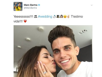 Love is in the air: Marc Bartra y Melissa Jiménez están prometidos y se ha casado Shia LaBeouf