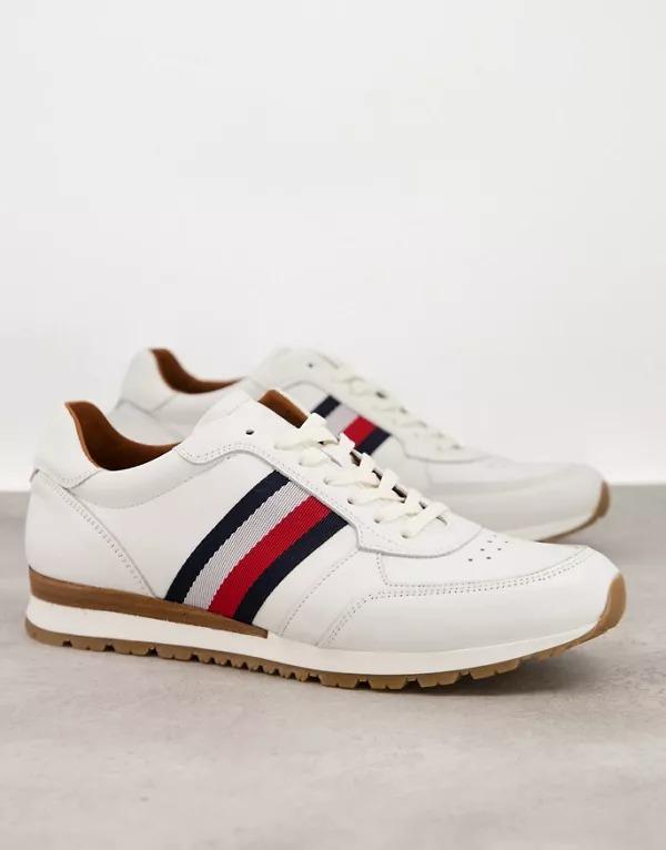 Zapatillas de deporte blancas de cuero Luxury Corporate de Tommy Hilfiger