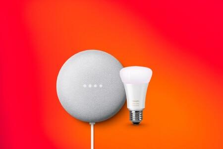 Google Nest Mini con bombilla Philips Hue y mando casi a mitad de precio en PcComponentes: tu hogar más inteligente por 44 euros