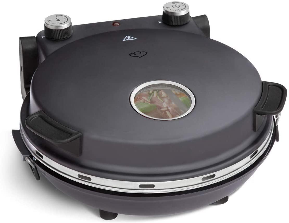 Horno para Pizzas Peppo, Máquina para preparar pizzas como al horno de piedra a 350 °C, temporizador e indicador luminoso, incluye 2 volteadores grandes de pizza - antracita