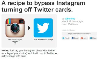 Salta la nueva restricción que Instagram ha impuesto a sus imágenes en Twitter con esta receta de IFTTT