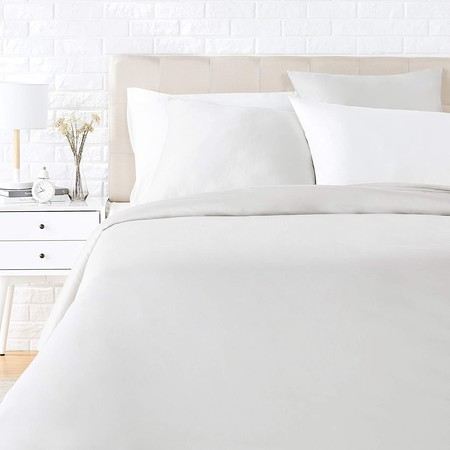 AmazonBasics - Juego de ropa de cama con funda de edredón, de satén, 135 x 200 cm / 80 x 80 cm x 1, Gris brillante