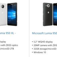 Los Lumia 950 y 950 XL se dejan ver en la tienda de Microsoft