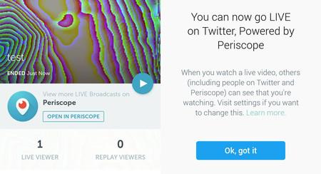 Ya puedes retransmitir en directo en Twitter directamente, sin Periscope