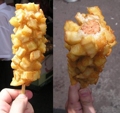 Frankfurt rebozado de patatas fritas y más