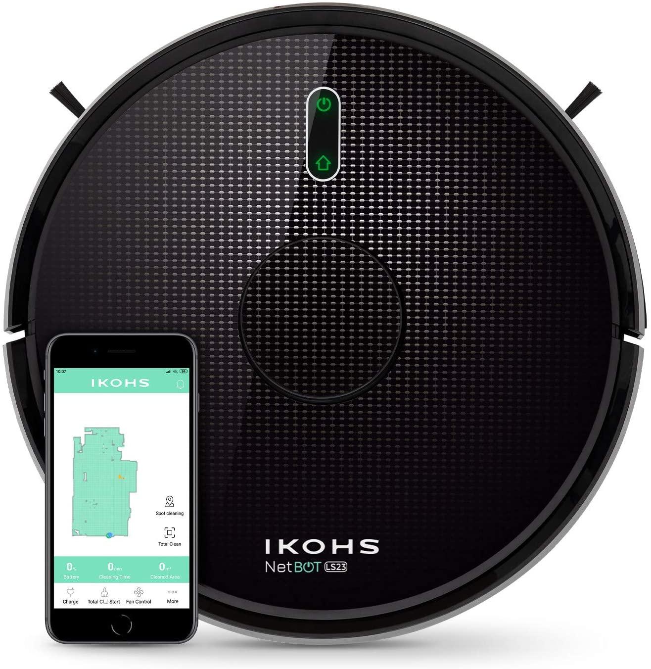 IKOHS NETBOT LS23 - Robot Aspirador Láser, Aspira, Barre, Friega y Pasa la Mopa, Mapeo 3D Láser, con Filtro Hepa, Navegación Inteligente, App con Mapa, WiFi, Programable (Autonomía: 90-120 Minutos)