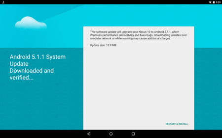 Nexus 10 empieza a recibir OTA de Android 5.1.1
