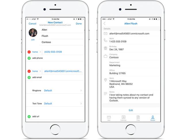 Microsoft actualiza Outlook, que ahora permite la gestión completa de los contactos en iOS y Android