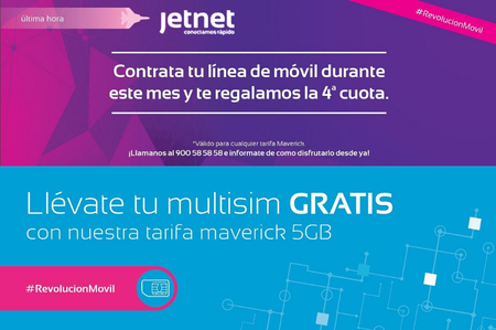 Jetnet incluye multiSIM gratis en su nueva tarifa de 5 GB