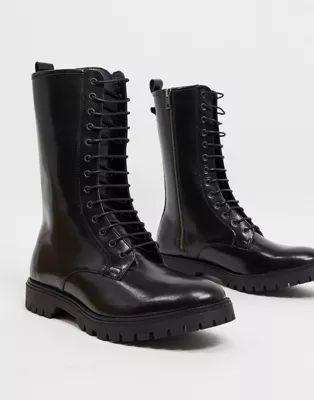 Botas altas de cuero negro con cordones de ASOS DESIGN