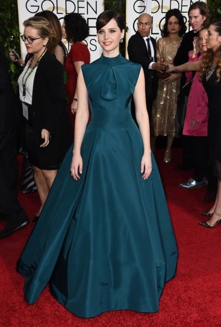 Felicity Jones De Dior Globos De Oro 2015