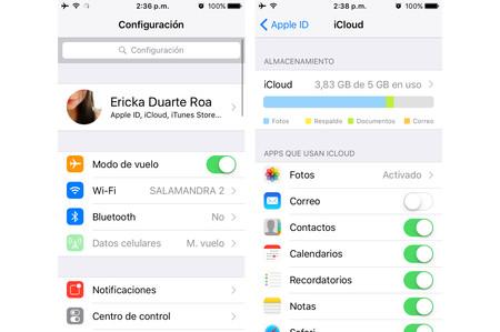 Este es el nuevo panel para configurar nuestro Apple ID y gestionar el almacenamiento de iCloud
