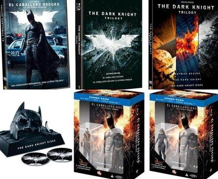 Diferentes ediciones en DVD y Blu-ray de El Caballero Oscuro: La Leyenda Renace y la trilogía de Batman de Nolan