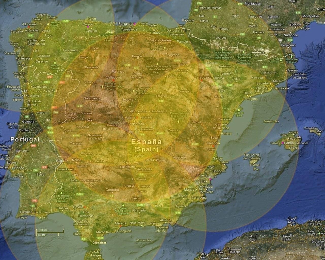 Area cobertura Pegasus Bases principales