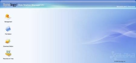 Synology web interface