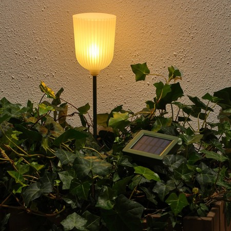 Solvinden Led Solar Powered Ground Stick Outdoor Bell Shaped Flower White 0766102 Pe753703 S5