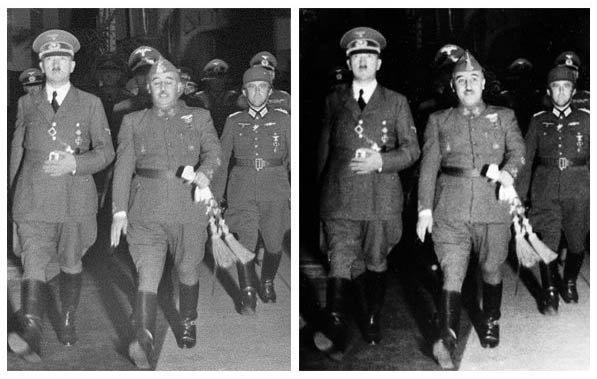 Franco y Hitler retocada y original