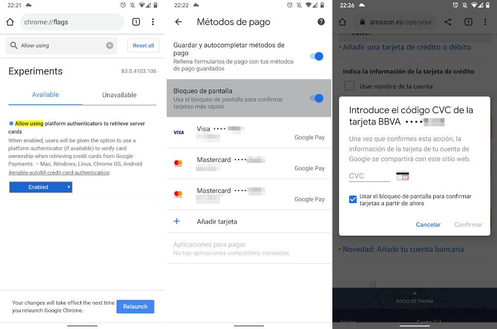 Autentificación biométrica para pagos en Chrome para Android