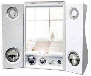 Espejo para escuchar música sin problemas en el baño