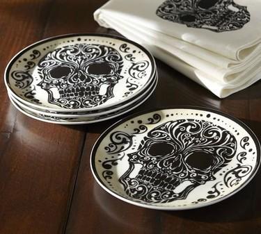 Elegantes platos para ensalada, especiales para Día de Muertos