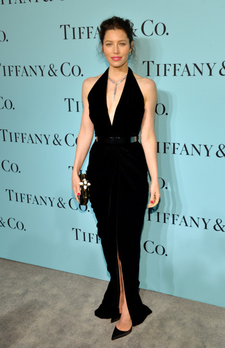 Tiffany & Co Blue Book gala 2014 red carpet Jessica Biel Oscar de la Renta