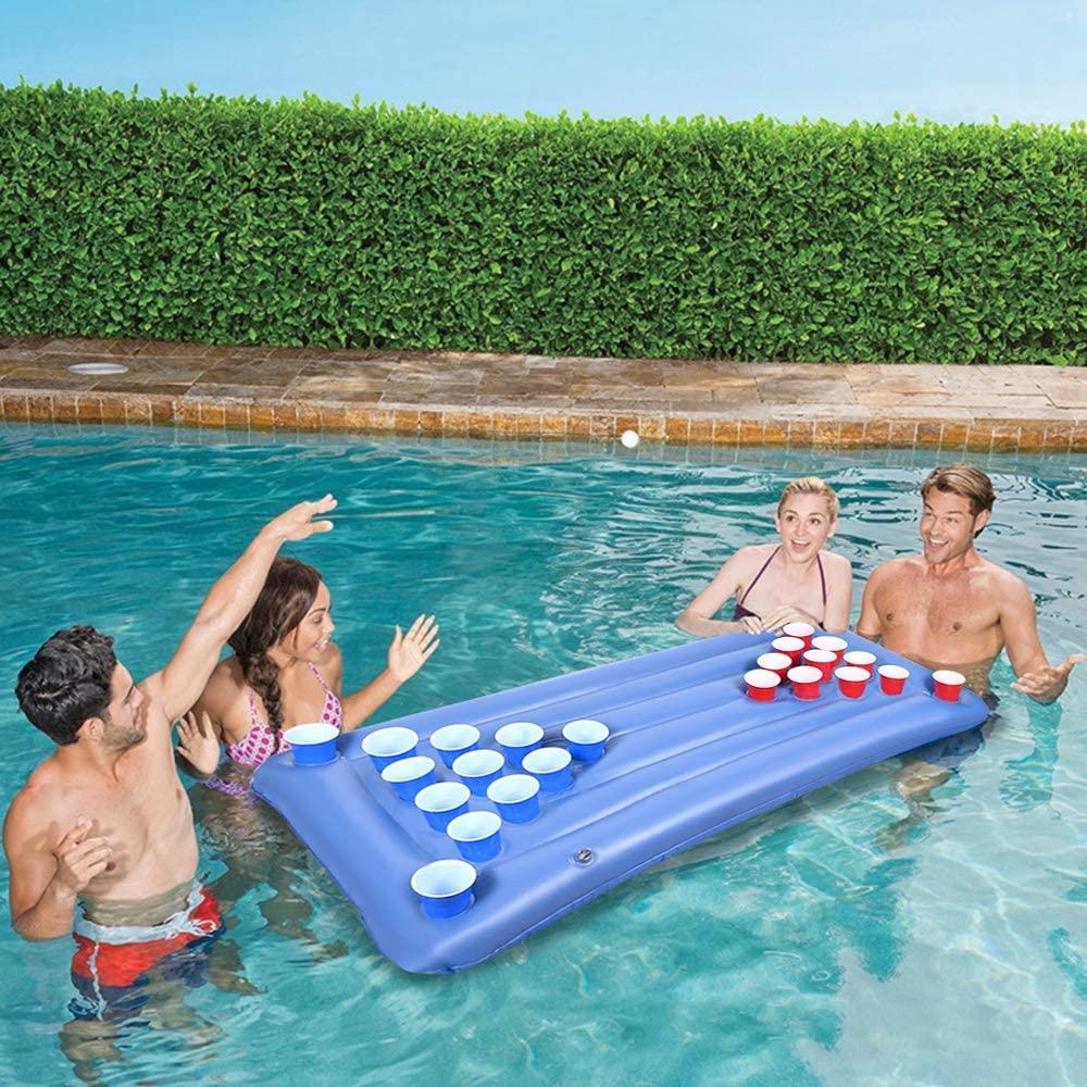Faburoo Beer Pong Colchón Hinchable, Colchón de Aire Cama Beer Pong, Accesorios de Fiesta de Flotador de Piscina de Verano, Sin Tazas
