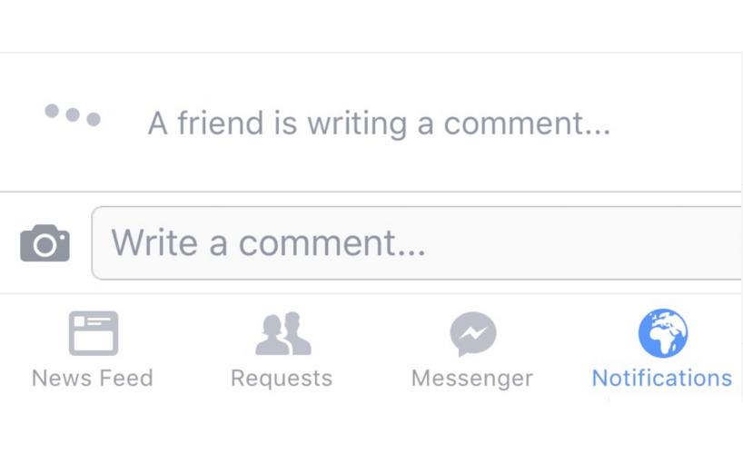 """""""Un amigo está escribiendo un comentario"""": así es el nuevo aviso que está probando Facebook. La imagen de la..."""