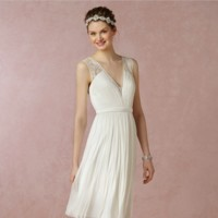 vestido novia plisado BHLDN