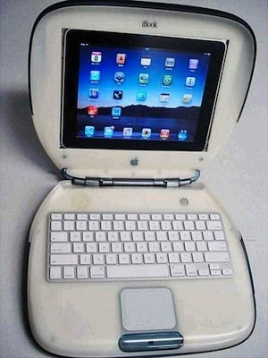 """Convierten un iBook G3 como funda """"clamshell"""" para el iPad"""