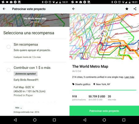 Nunca es tarde si la dicha es buena: la app de Kickstarter llega a Android 3 años más tarde