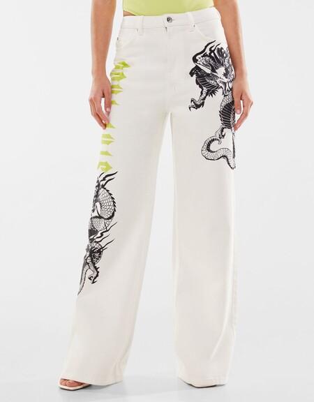 Pantalon Wide Leg Print Dragon