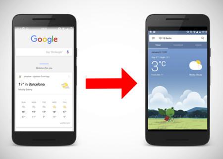 Así son las nuevas tarjetas meteorológicas en Google Now