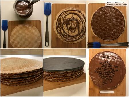 Tarta De Obleas Con Chocolate Receta Facil De Postre Sin Horno Rapida
