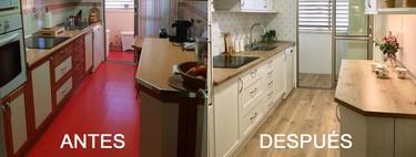 Antes y después; una cocina que cambia el rojo por un estilo nórdico sin incómodas reformas
