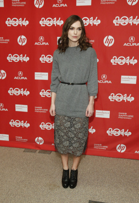 Festival Sundance 2014 premiere Laggies Keira Knightley total look gris