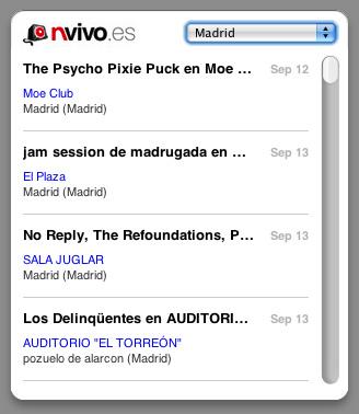 nvivo, Widget para seguir los conciertos en España