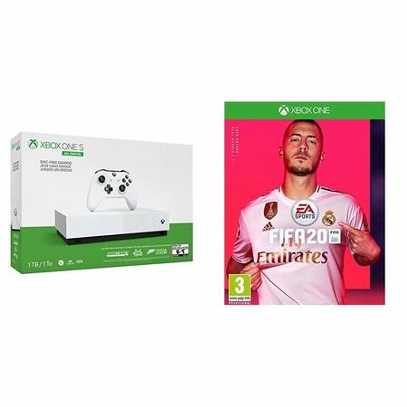 Consola Xbox One S All Digital de 1TB, con FIFA 20 y tres juegos más gratis, en oferta en Amazon por 179,99 euros