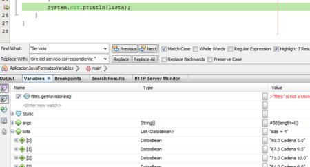 Vemos los resultados del formateo de variables en la pestaña de variables del debug