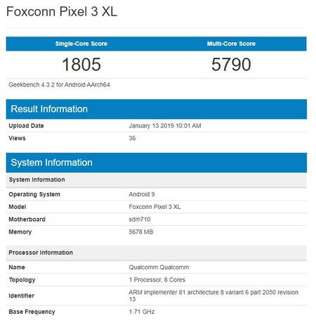 Geekbench Pixel 3 XL